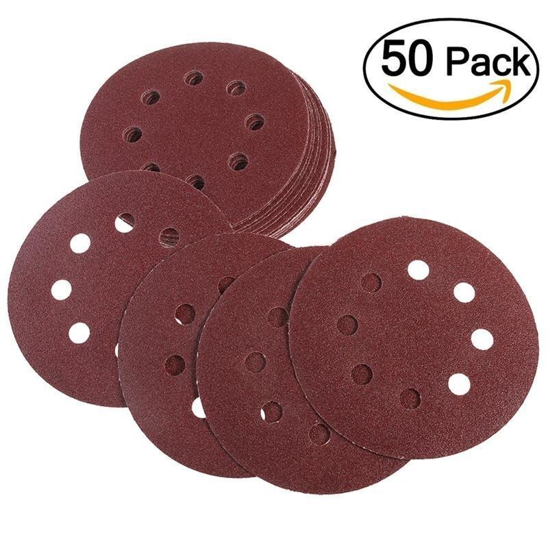 Bộ 50 8 Lỗ 5 Inch Móc và Vòng Chà Nhám Đĩa 40 Nhám Giấy Nhám Tròn Miếng Lót