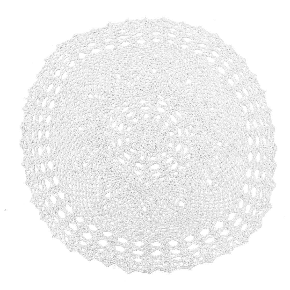 55cm Vintage Round Cotton Hand Crocheted Lace Floral Doilies Tablecloth Placemat#White - intl