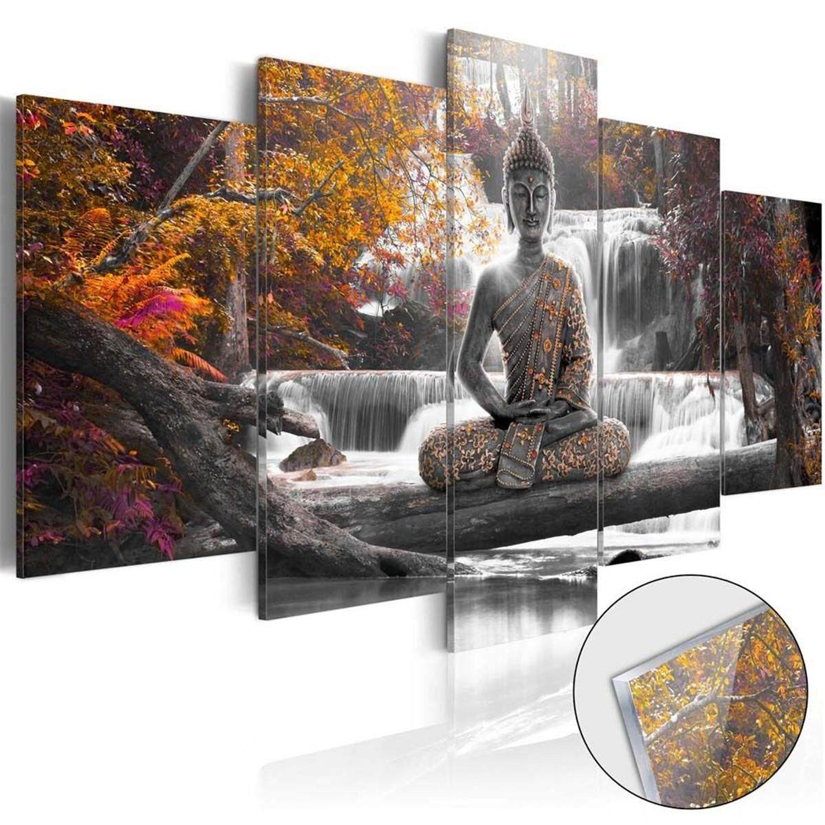 5x Buddha Zen Landscape Painting Canvas Print Modern Picture Wall Art Decor Home #yellow with frame - intl