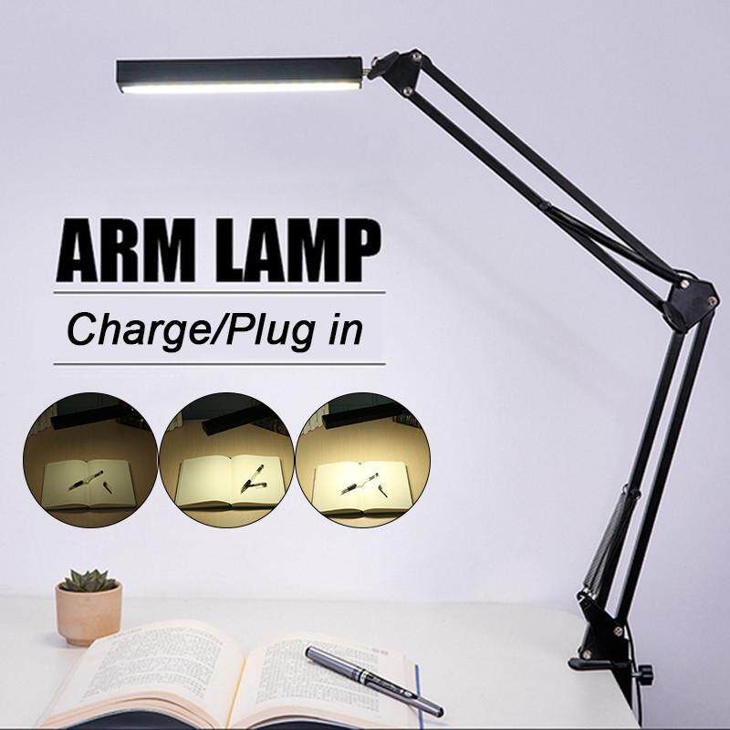 Adjustable Long Arm Desk Lamp Work Reading Clip-on LED Table USB Reading Light Plug In The Device - intl