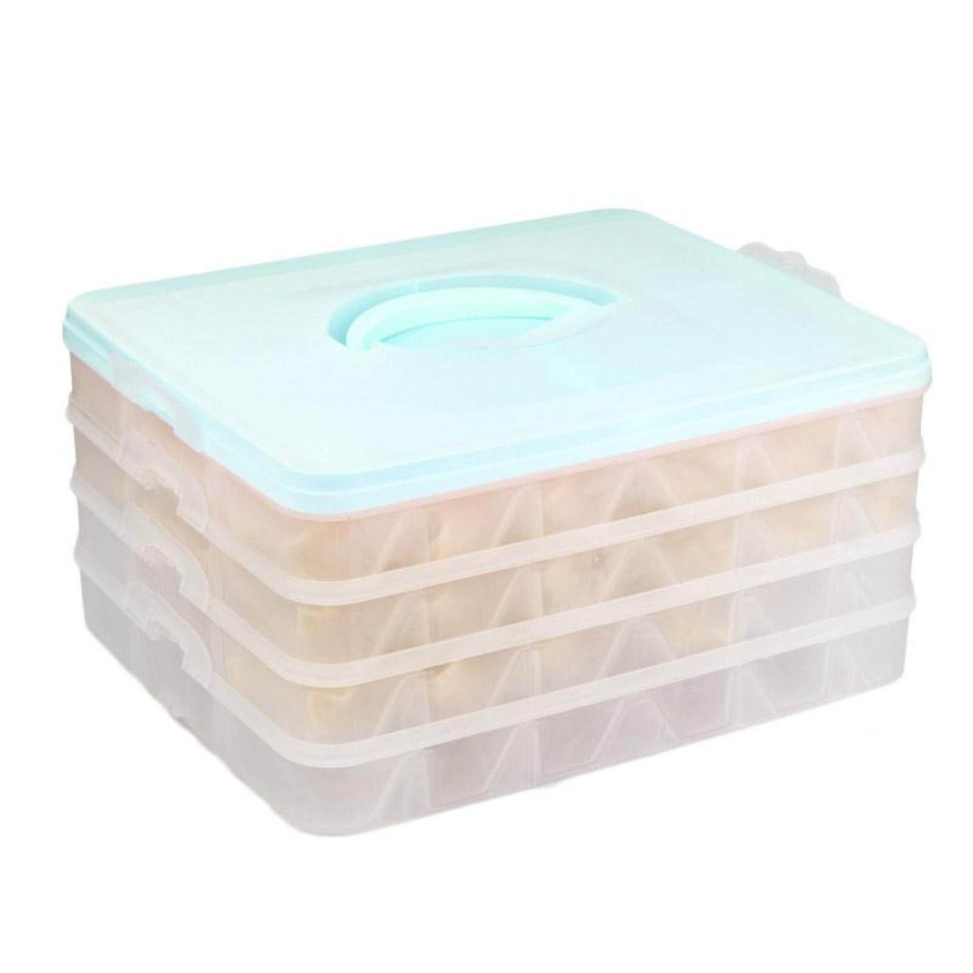 Ajusen Kulkas Segar Pemelihara Kotak Penyimpanan Plastik Empat Lapisan Portabel Dumpling Kotak Container Penahan Organizer-Internasional