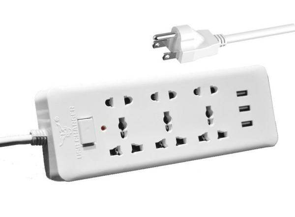 American standard plug Universal Electrical Power Strip with 6-Foot Power Cord 3 USB Charging Ports - intl