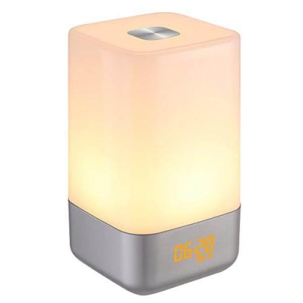 Amir Wake-Hingga Ringan Di Samping Lampu Jam Alarm dengan Simulasi Sunrise, 5 Suara Alami, Isi Ulang, sensor Sentuh Warna-warni Dimmable Malam Ringan, Desain Sederhana dan Gaya Sehat (Pasang)-Internasional