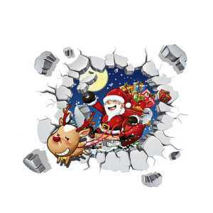B-F 3D Wall Stickers Removable Waterproof Santa Claus Print Xmas Decals - intl