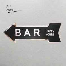 bar happy hours classic irregular arrow iron painting bar accessories wall sticker 40*16cm