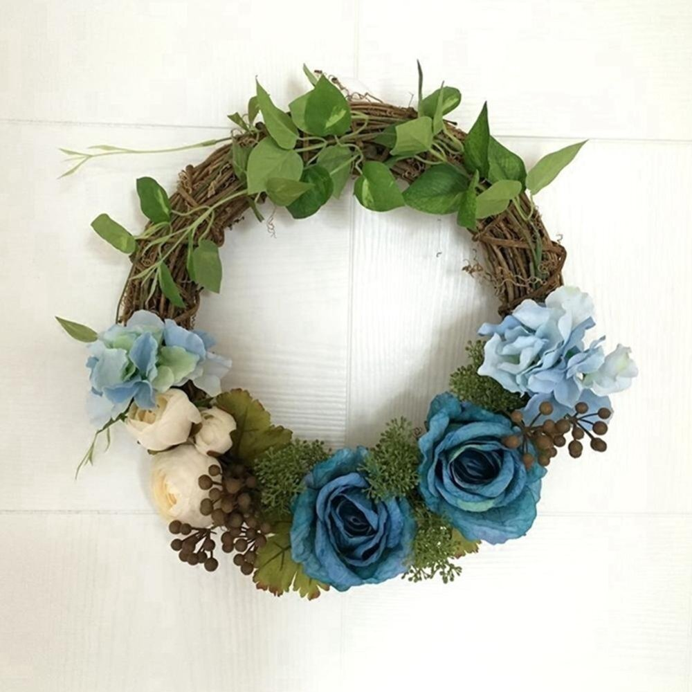 Blue Holiday Festival Wedding Decor Floral Artificial Rattan Wreath Door Hanging Wall Window Decoration Wreath - intl