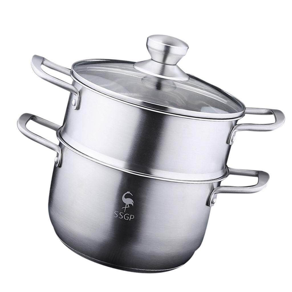 Bolehdeals 2 Tier Stainless Steel Steamer Stockpot Induction Cookware Saucepan Pot 20cm - Intl By Bolehdeals.