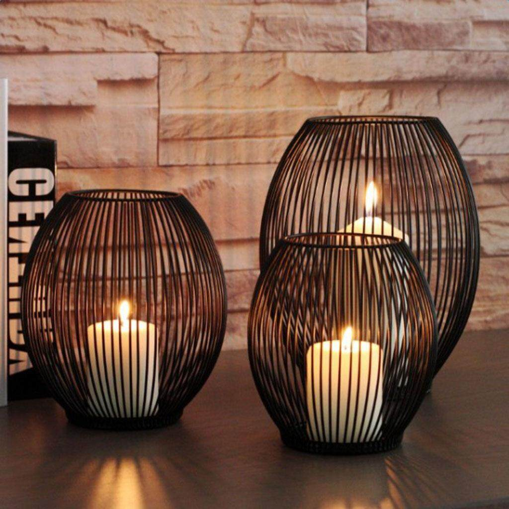 BolehDeals Iron Wire Tealight Votive Candle LED Candle Case Holder Cup Candle Holder S - intl