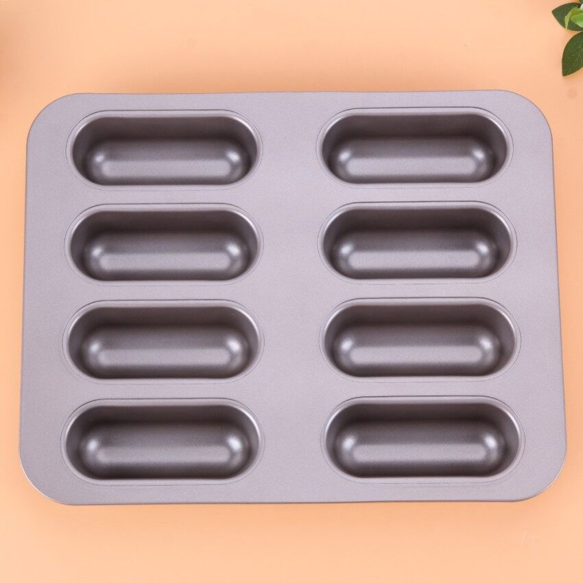 Bread Pan Golden 8-Cup Mini Non-Stick Hot Dog Mold Strip Bread Cakemould Bakeware Baking Pans Oven Mould Kitchen Tools - intl