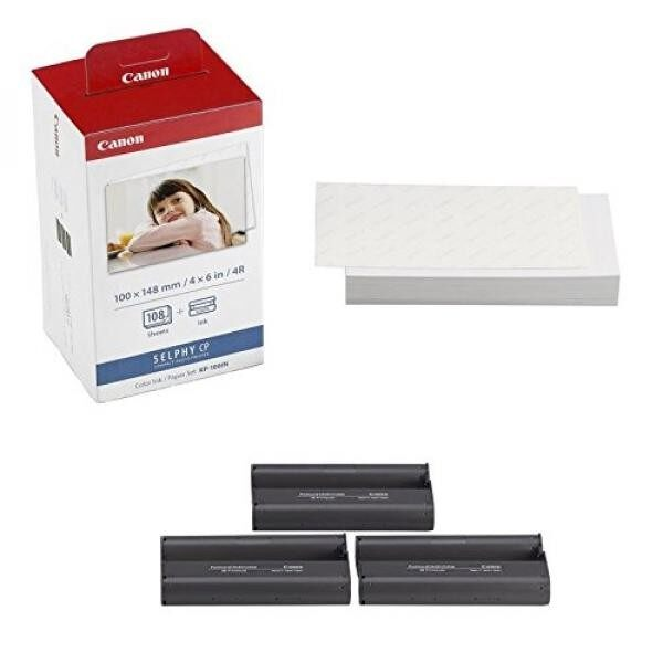 Canon KP-108IN 3 Color Ink Cassette and 108 Sheets 4 x 6 Paper Glossy For SELPHY CP1300, CP1200, CP910, CP900, CP760, CP770, CP780 CP800 Wireless Compact Photo Printer - intl