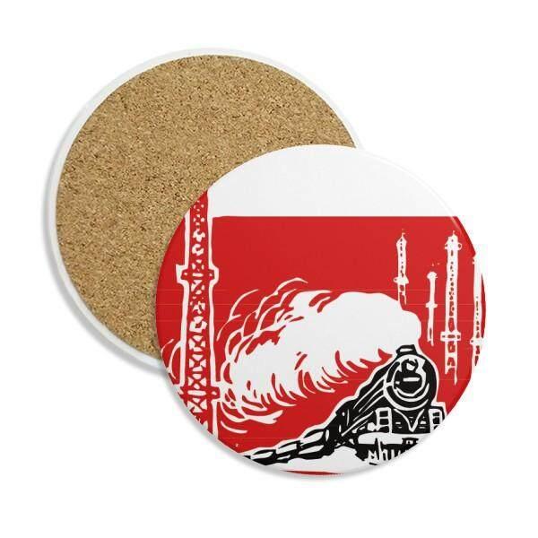 Tiongkok Kereta Menara Uap Merah Ceramic Coaster Cangkir Mug Penahan Menyerap Stone untuk Minuman 2 Pcs Hadiah-Internasional
