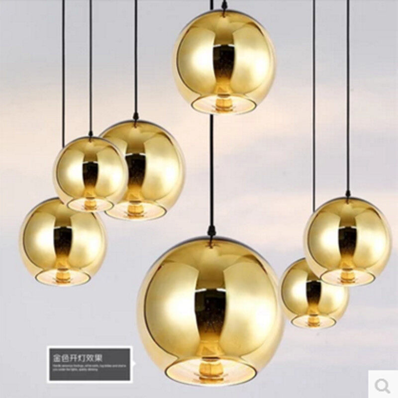 Creative personality space glass plated ball chandelier simple modern clothing store lights round restaurant - intl