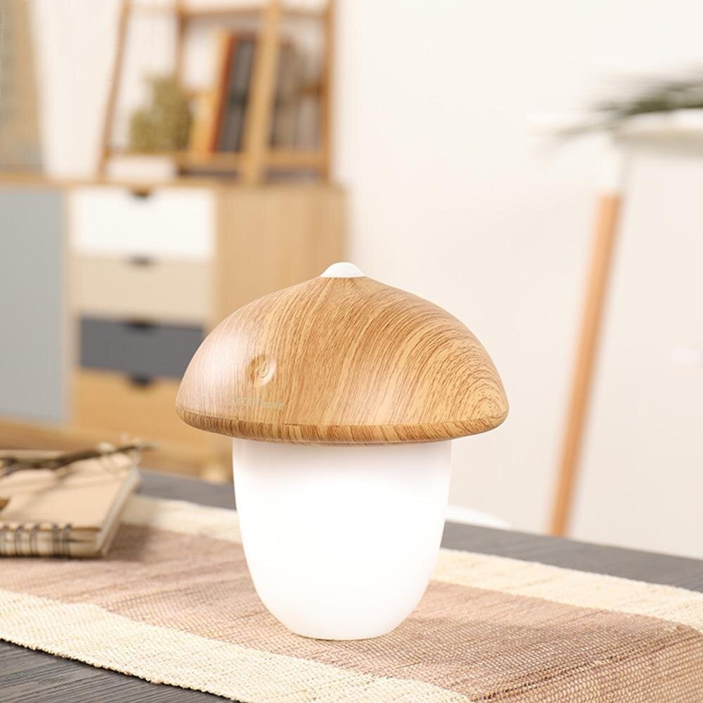 Creative Wood Grain Rechargeable LED Light With USB, Touch-style Mushroom Night Light 3 Selectable Modes Portable Desk Lamp - intl