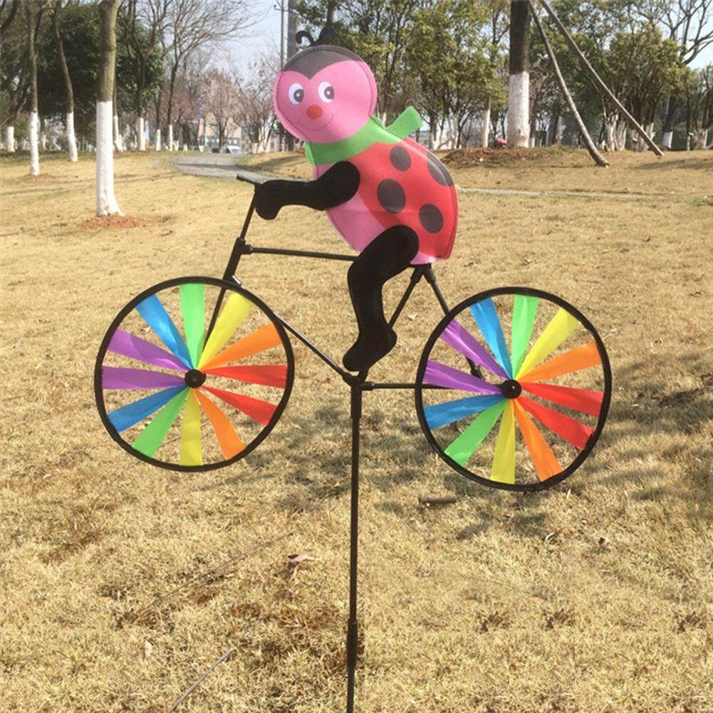 Cute 3D Animal on Bike Windmill Whirligig Garden Lawn Yard Decor Wind Spinner - intl