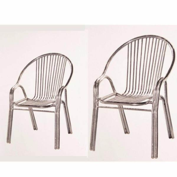 Dhome WC508 Set Of 2 Units Of Stainless Steel Chair / Dining Chair (Silver)