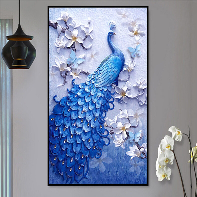 Diamond Painting, Blue Peacock Vertical Version, Full Drill Cross Stitch, Diamond Embroidery (60 * 120cm) - intl