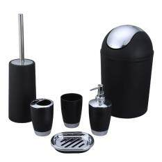 Dsstyles 6pcs Bathroom Accessory Set Washing Tools Lotion Bottle Mouthwash Cup Soap Dish Toothbrush Holder Waste Bin Toilet Brush Household Articles Black By Dsstyles.