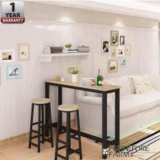 Fu0026F : CIEL Living Room Simple Desk [BLACK STEEL] U0026 2x Chair Combination  Coffee