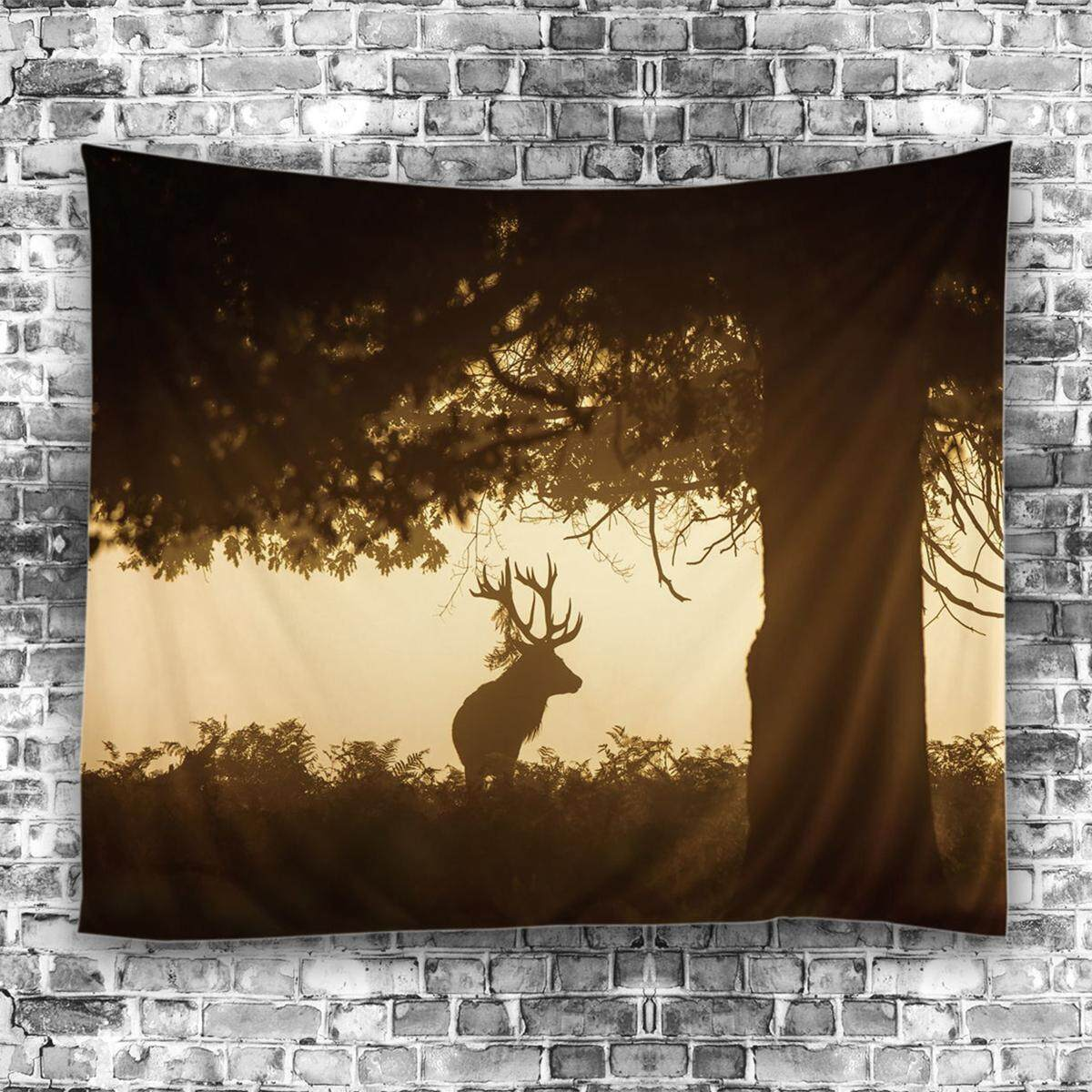Forest Deer Mandala Tapestry Wall Hanging Throw Bedspread Beach Yoga Mat Decor - intl