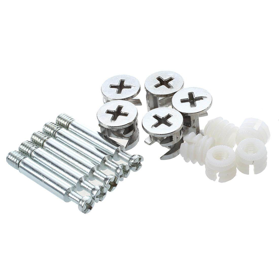Furniture Cam Fitting with Dowel and Pre-Inserted Nut (Set of 5) - intl