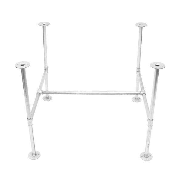 GALVANISED METAL PIPE TABLE BASE INDUSTRIAL DINING KITCHEN GARDEN TABLE DIY BAR(160cm)