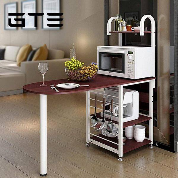 GTE Kitchen Wooden Shelf Microwave Oven Shelf Multi Frame Floor Storage  Table Multi Function