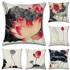 GZ Set of 6 Chinese style Lotus Flower landscape painting Throw Sofa Pillow Case Cushion Cover Linen Cotton 45cm*45cm