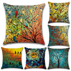 GZ Set of 6 New Bird forest Painting Throw Sofa Pillow Case Cushion Cover Linen Cotton 45cm*45cm