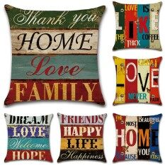 GZ Set of 6 Vintage Proverbs Mediterranean hand drawn letters Throw Sofa Pillow Case Cushion Cover Linen Cotton 45cm*45cm