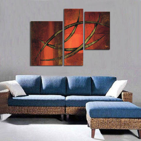 Dicat Tangan Modern Sederhana Gaya Lukisan Minyak Pada Kanvas 3 Pieces Pola Abstrak Dinding Lukisan Minyak Gambar Seni untuk Rumah Dekorasi Hadiah 2