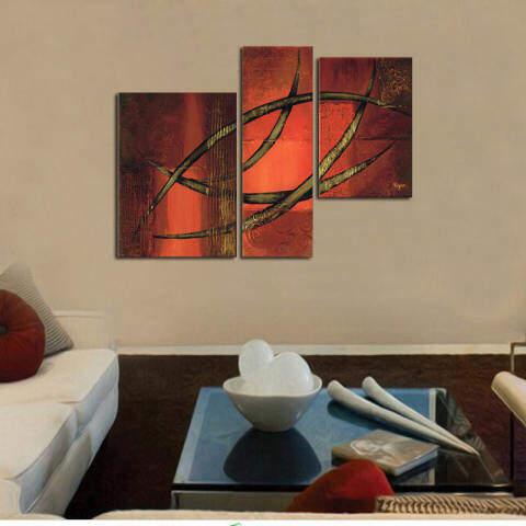 Dicat Tangan Modern Sederhana Gaya Lukisan Minyak Pada Kanvas 3 Pieces Pola Abstrak Dinding Lukisan Minyak Gambar Seni untuk Rumah Dekorasi Hadiah 3