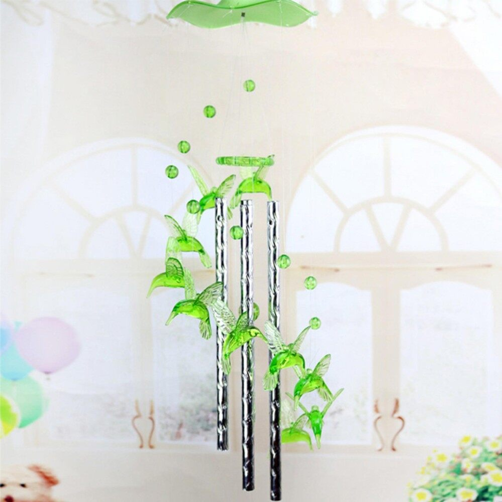 Heart Plastic Crystal 4 Metal Tubes Wind chime Dophin Home Garden Decor for Lover Valetines Gifts Green 80CM - intl