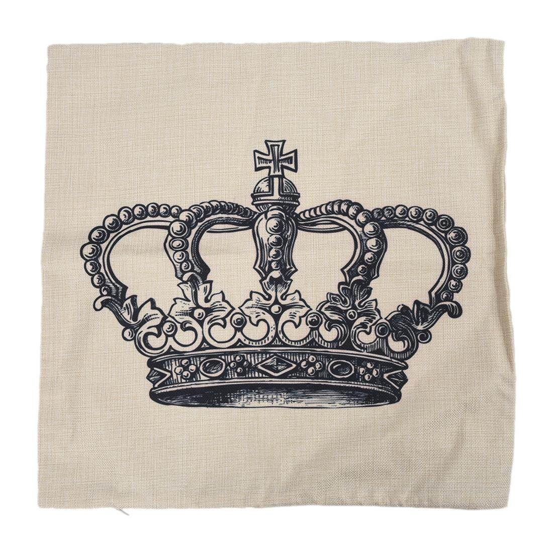 Home Decorative Linen Cotton Blended Cushion Cover Throw Pillow Case (Crown) - intl
