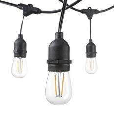 Hudson Pencahayaan-Tali LED Lampu-48 Kaki-Garansi 3 Tahun-Tahan Cuaca LED String Lampu UL terdaftar-15 Gantung Soket-15 S14 2 Watt Bohlam LED Termasuk-Kelas Komersial String Lampu