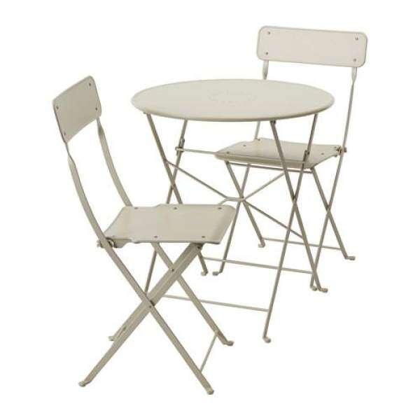 Ikea Stainless Steel Foldable Indooru0026 Outdoor/ Balcony Table And Two Chairs  Set (Beige)