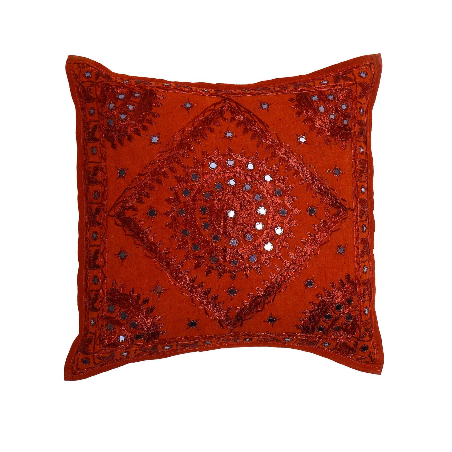 Jaipurse Indian Cushion Cover Cotton Mirror Work Hand Embroidered Square