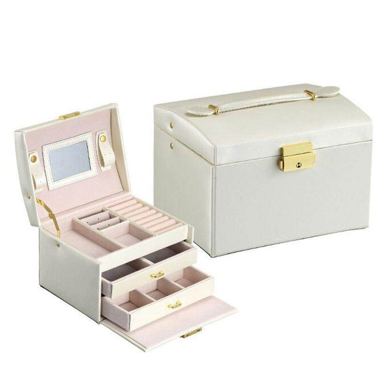 Jewelry Box Organizer Case Ring Earring Necklace Mirror Cortical white - intl