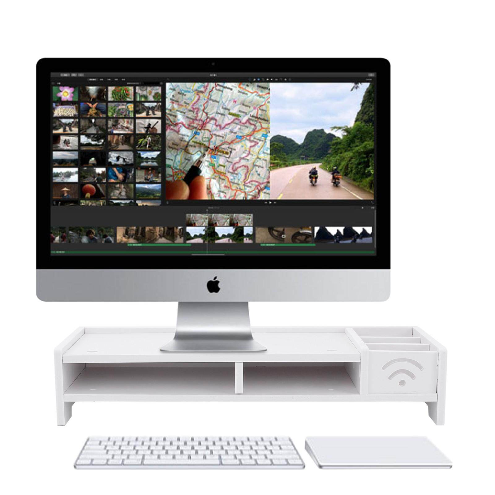LCD TV Computer Monitor Screen Stand Wooden Desk Riser Keyboard Shelf Rack White - intl