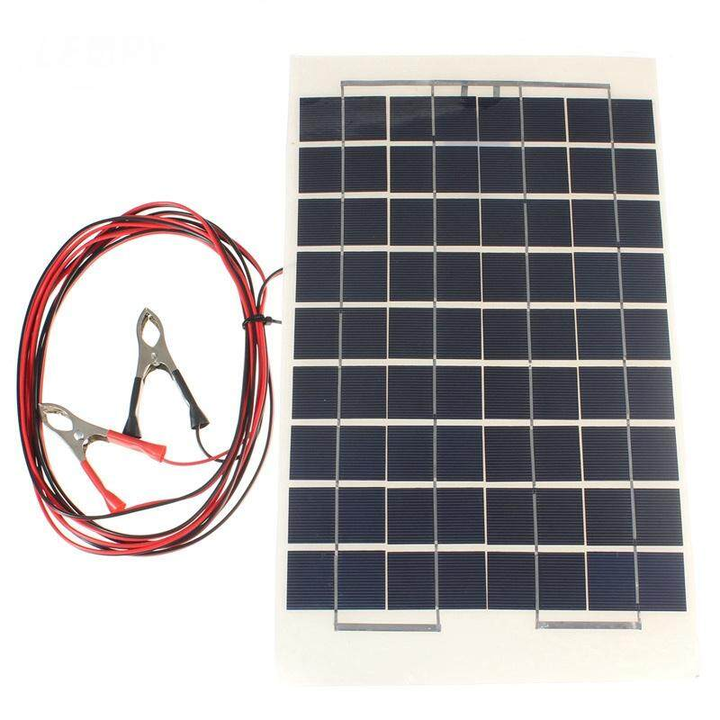 LEORY 12V 10W Solar Panel PolyCrystalline Cells DIY Solar Module Epoxy Resin With Block Diode 2 Alligator Clips 4m Cable - intl