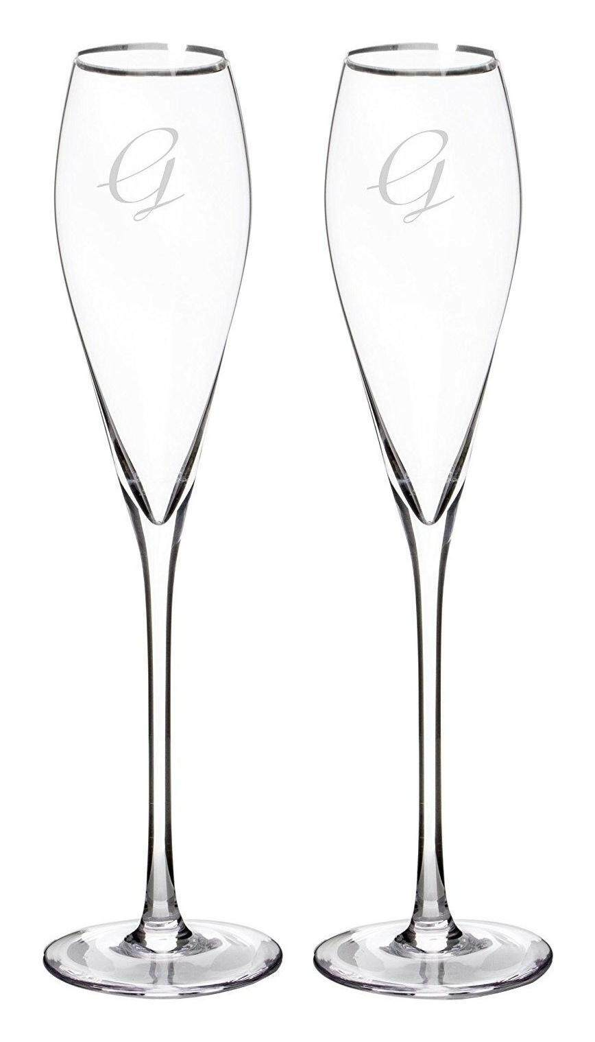 38e80abd3cb (Letter G, Silver) - Cathy's Concepts Personalised Silver Rim Champagne  Flutes (Set