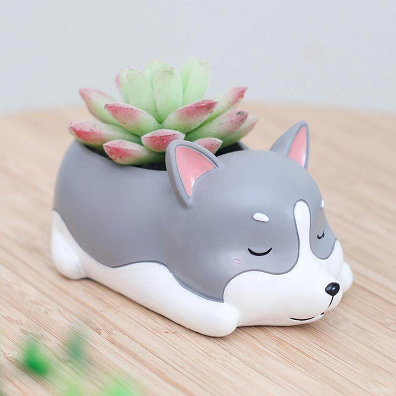 LumiParty Creative Resin Sleeping Pet Design Flowerpot Lovely Animal Shaped Succulent Plant Pot - intl