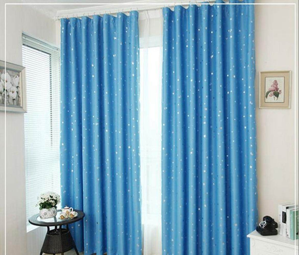 LumiParty Heat Insulation Shading Partition Curtain Star Pattern Sky Blue 130*150 cm Size:130*150 cm - intl