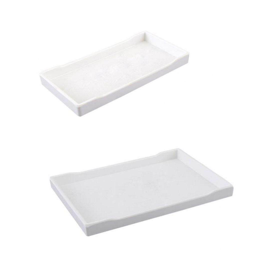 Magideal 2x Melamine Hotel Serving Tray Dishes Cup Glass Cake Set White 22cm 24.9cm - Intl By Magideal.
