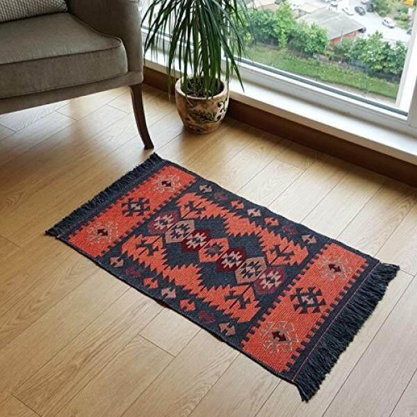 Modern bohemian style area rug 2 x 3 feet washable natural dye colors