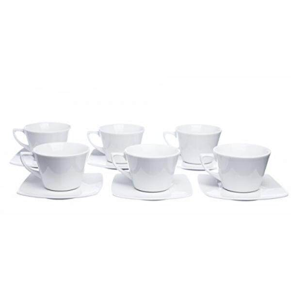 MOKKO 12-Piece Tea/Coffee 8.4 oz. Cups Set with Square Saucers (Set of 6) - intl