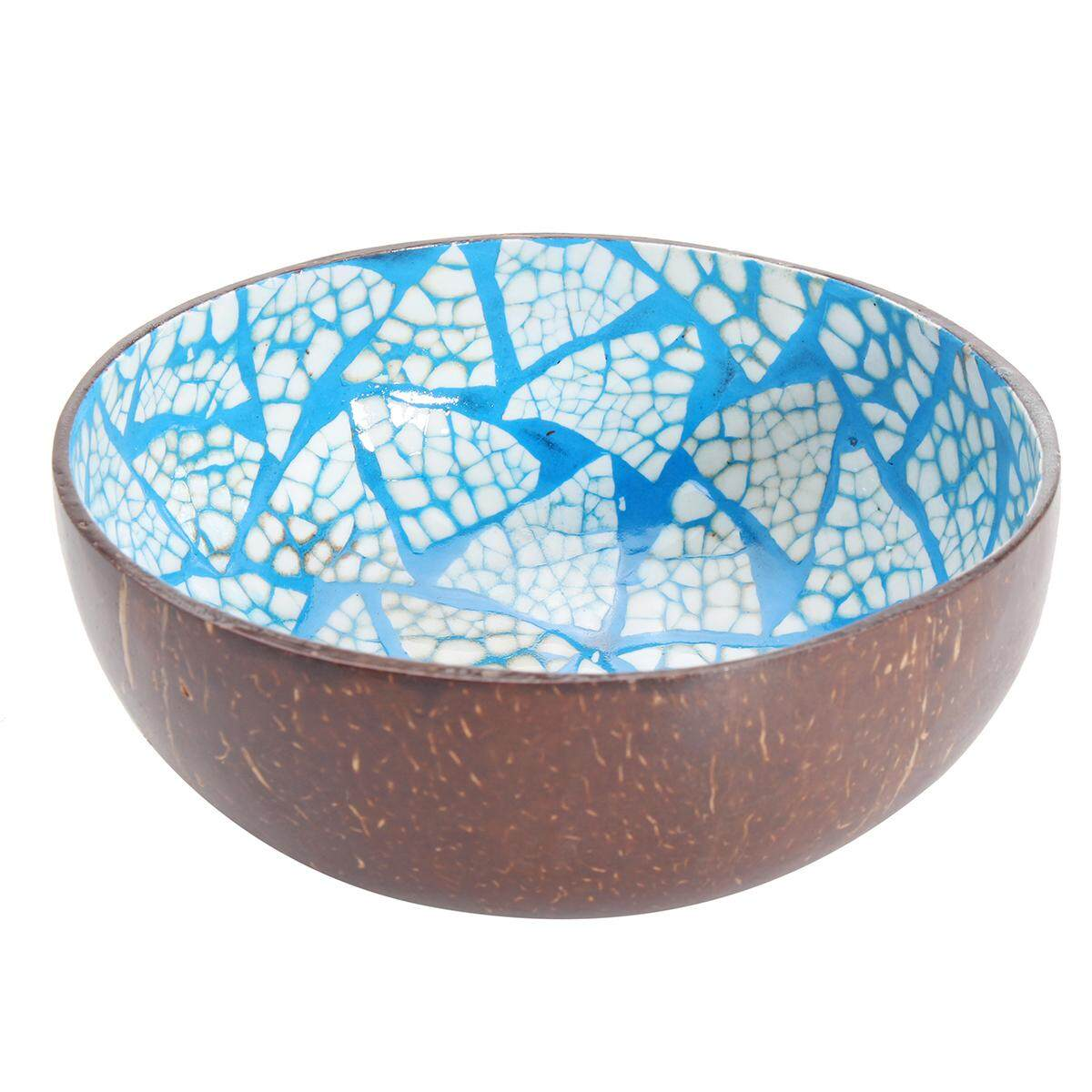 Natural Coconut Shell Bowl Dishes Mosaic Handmade Paint Craft Home Kitchen Decor # Blue - intl