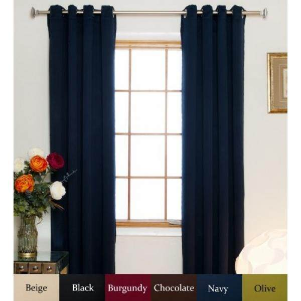 Navy Nickel Grommet Top Energy Saving Thermal Insulated Blackout Curtain 74 Inch Length Pair