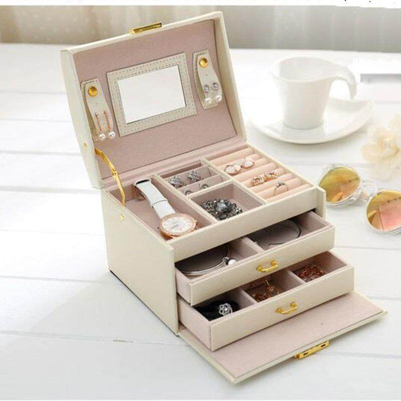 New Cortical Jewelry Box Storage Earring Necklace Ring Mirror Holder Case - intl