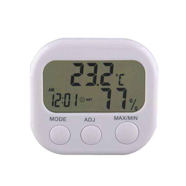 New Digital Thermometer Humidity HYGRO Hygrometer Air Moisture Clock TA638 White