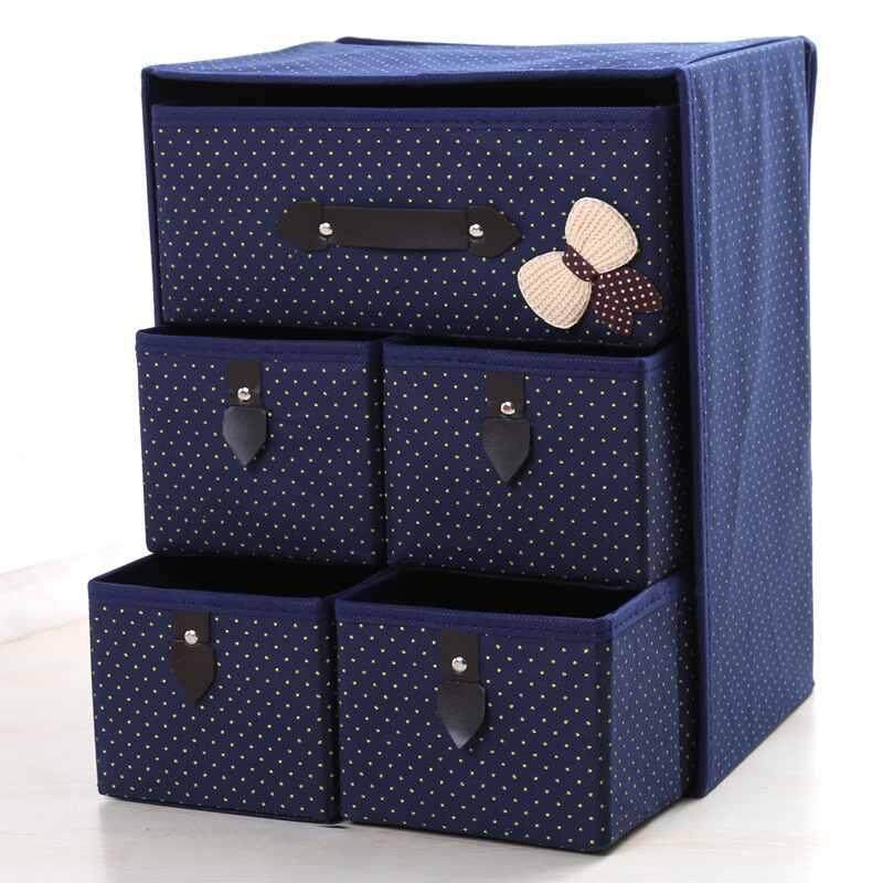 Non-woven Drawer Closet Underwear Bra Socks Storage Organizers Box 5 Drawer - intl